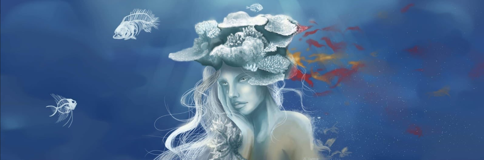 Artwork by Dr. Peixoto's undergraduate student Natascha-Sophie Varona on coral bleaching.
